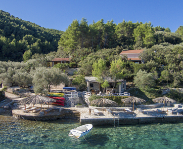 Korcula charming stone house by the sea - view to the house and beautiful bay